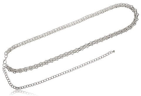Silvertone Adjustable Length Multifaceted Symmetrical Belt Chain