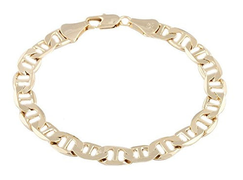 2 Pieces of Goldtone 9mm 9 Inch Flat Mariner Chain Bracelet