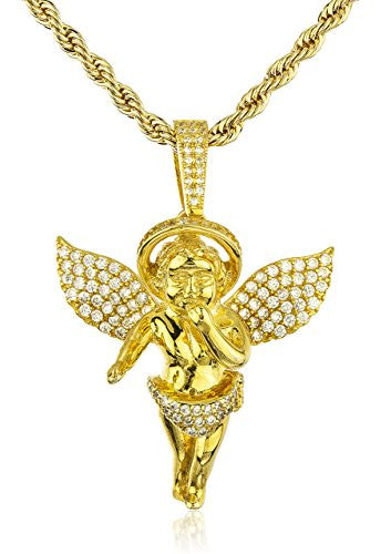 925 Sterling Silver Gold-Tone Iced Cubic Zirconia Praying Hand Baby Angel with Halo Pendant with a 3mm 24 Inch Brass Rope Necklace
