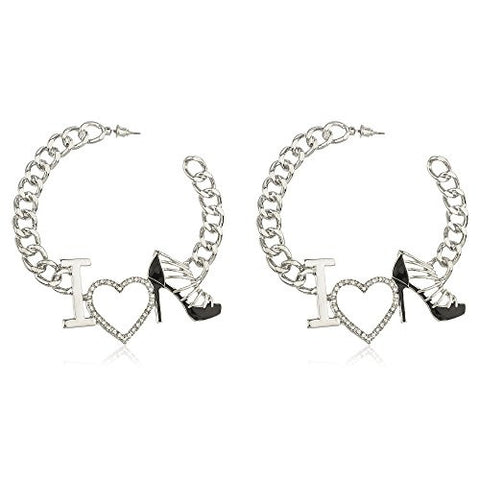 "Silvertone Script ""I Love Shoes"" Black with Crystals Cuban Linked 3 Inch Open Hoop Earrings"
