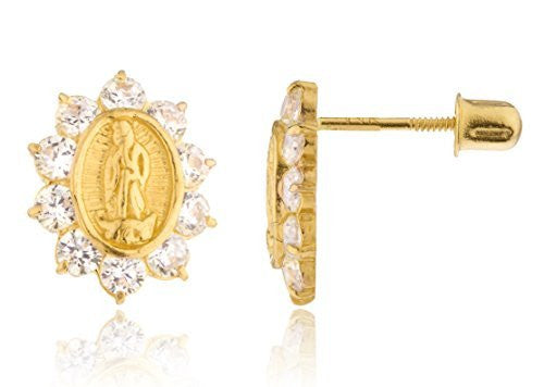 14k Yellow Gold Mother Mary Coin Charm with Clear Cz Screw Back Stud Earrings