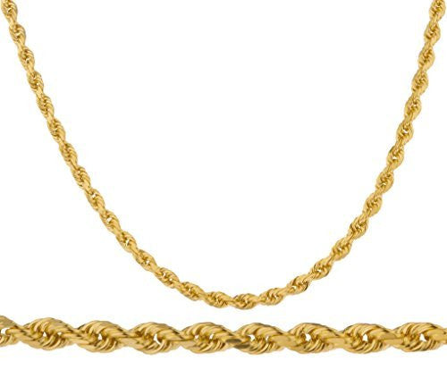 "14k Yellow Gold 4mm D-cut Rope Chain Necklace - 24"" 26"" & 30"" Available"