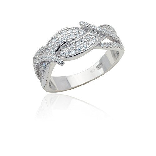 Sterling Silver Ring Multi Twist Cz...
