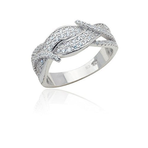 Sterling Silver Ring Multi Twist Cz Stone