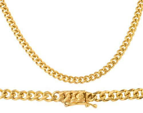 14K Yellow Gold 4mm 24 Inch Solid Cuban Chain with Safety Lock