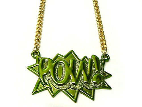 Green with Goldtone Zinc Pow! Pendant with a 36 Inch Link Chain Necklace