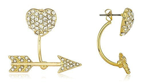 Goldtone Heart and Arrow Stud Earrings...