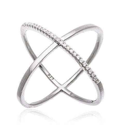 "925 Sterling Silver Elegant Criss Cross ""X"" Ring with Stones (7, yellow-gold-plated-silver)"