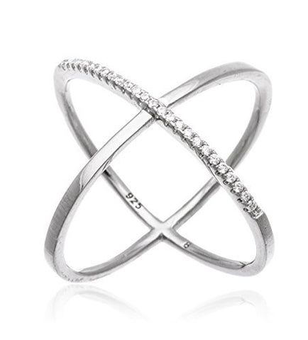 "925 Sterling Silver Elegant Criss Cross ""X"" Ring with Stones (6, yellow-gold-plated-silver)"
