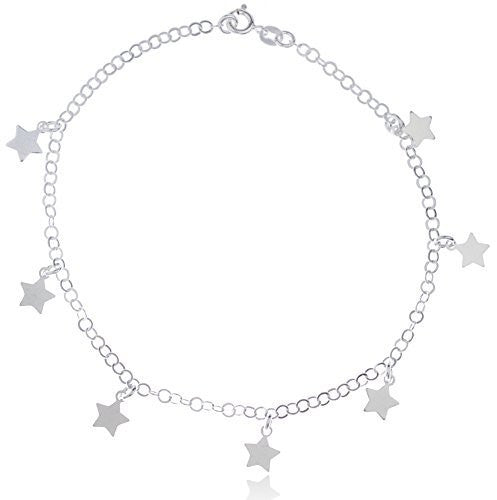Sterling Silver Anklet 9.5 Inch Adjustable Link with Chain Stars Charms