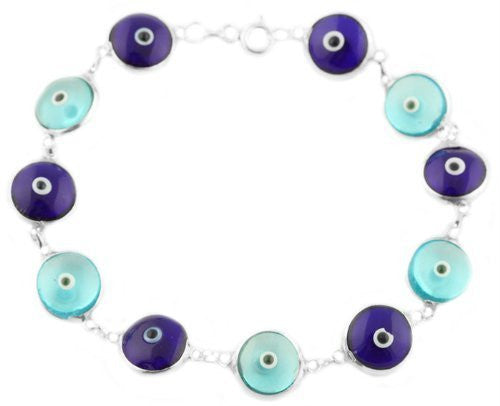 Real 925 Sterling Silver with Blue Shades 7 Inch Evil Eye Bracelet