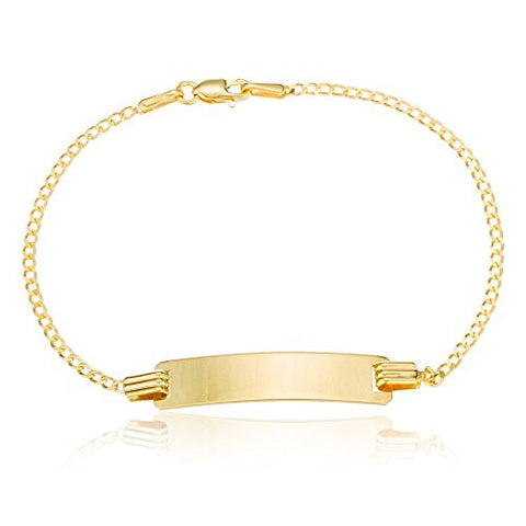 Real 10k Gold 6 Inch Baby Id Cuban Link Chain Bracelet