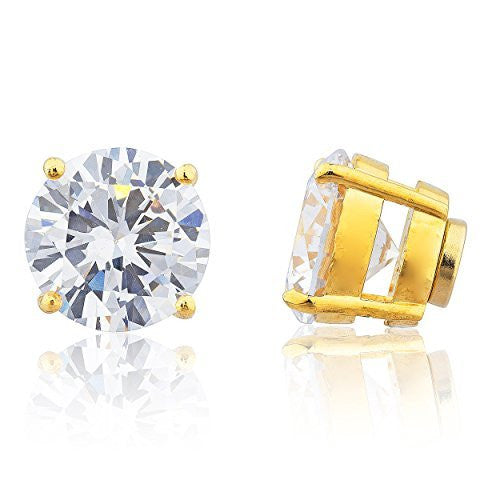 Goldtone with Clear Cz Round Magnetic Stud Earrings - 4mm to 12mm Available