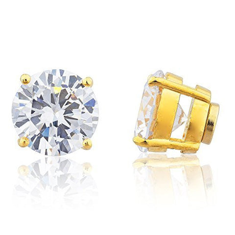 Goldtone with Clear Cz Round Magnetic Stud Earrings - 8mm to 11mm Available