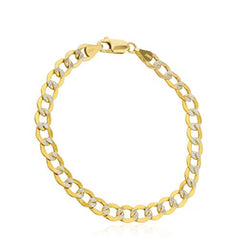 Men's 14K Gold Bracelet 6.8mm Pave Cuban, 8 Inch