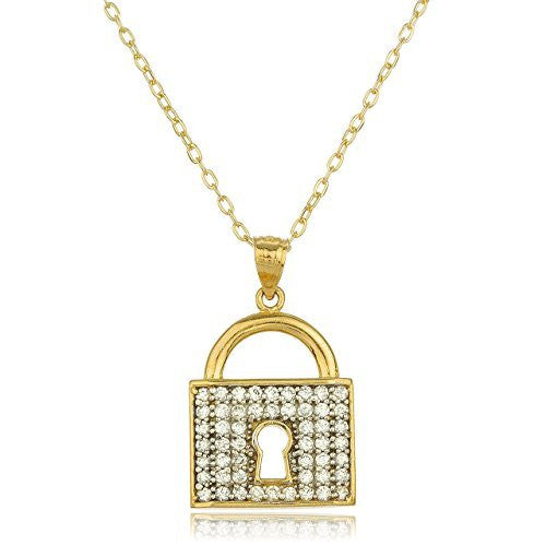14k Yellow Gold Key Lock Pendant...