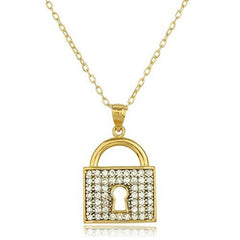 14k Yellow Gold Key Lock Pendant Cz Stones 18 Inch Gold Layered Anchor Necklace