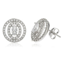 Sterling Silver Stud Earrings Oval Double Layer with Clear Cz Stones 12mm