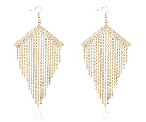 Goldtone Chevron Shaped Earrings with Dangling...