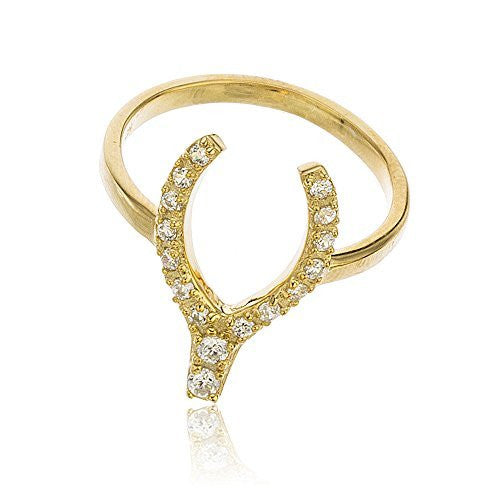 925 Sterling Silver Goldtone Iced Out Wish Bone Ring with Cubnc Zirconia Stones Sizes 6-8