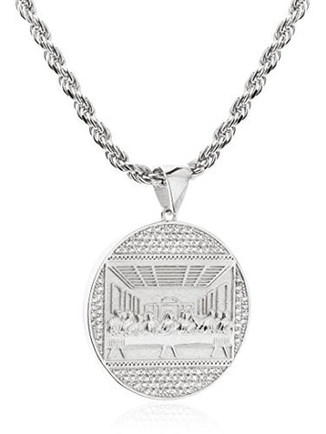 925 Sterling Silver Round 'Jesus Piece Last Supper' Pendant with Cz Stones and a 3mm 24 Inch Rope Necklace (rhodium-plated-silver)