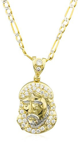 10k Yellow Gold Jesus Piece Face Pendant with Cz Stones & a 10k 24 Inch Pave Figaro Chain