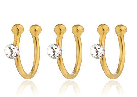 3 Pieces of 925 Sterling Silver Nose Studs with Stone - Available in Goldtone and Silver