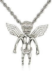 925 Sterling Silver Iced Out Cubic Zirconia Mini Baby Angel Pendant with a 3mm 24 Inch Brass Rope Necklace (rhodium-plated-silver)