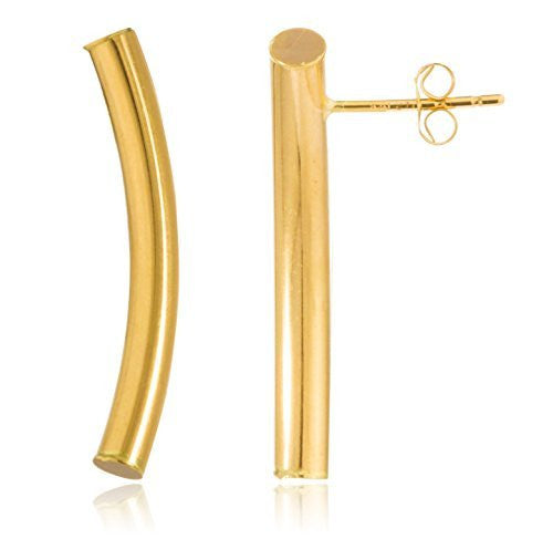 Real 14k Yellow Gold Simple Curved Bar 1 Inch Stud Earrings with 14k Pushbacks - Available in 2 Sizes (3 Millimeters)