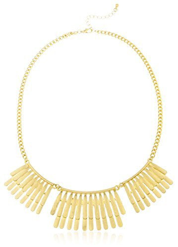Bohemian Inspired Metal Fringe 18 Inch Adjustable Necklace and Earrings Jewelry Set (Antique Goldtone)