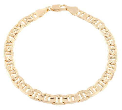Goldtone 8.25 Inch Frosted Valentino Chain 6mm Bracelet