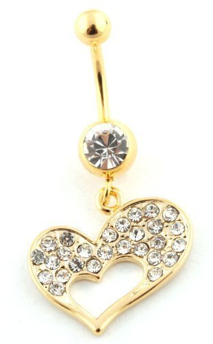 Goldtone Iced Out Heart and Mini Heart with Clear Stone Surgical Stainless Steel Belly Ring