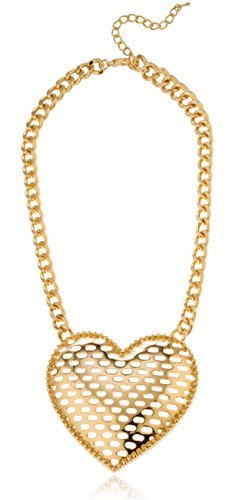 Goldtone Large Heart Pendant with Cuban Chain Jewelry Set