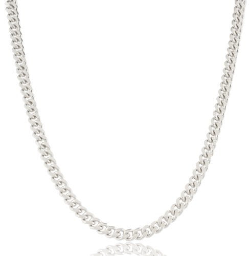 4mm Rhodium Plated Sterling Silver Miami Cuban Chain (30 Inches)