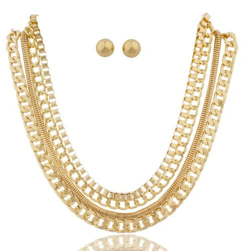 Goldtone 17-24 Inch Adjustable Assorted Necklace...
