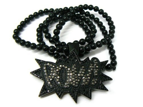 Black Iced Out Homica POW! Pendant...