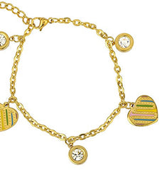 Stainless Steel Goldtone with Multicolor Heart and Stone Charms Adjustable 8 Inch Bracelet