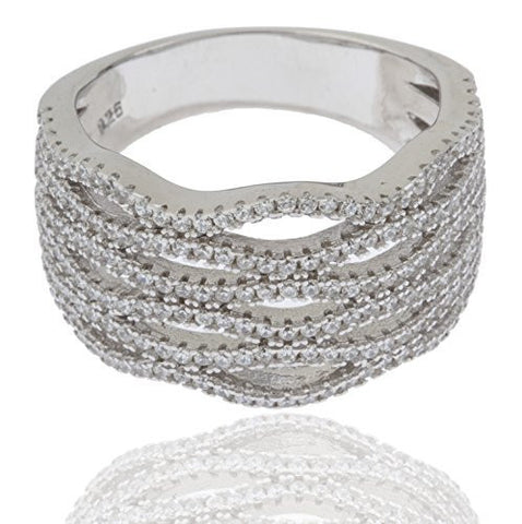 Ladies 925 Sterling Silver Symmetrical Cubic Zirconia Multi-tier Finger Ring