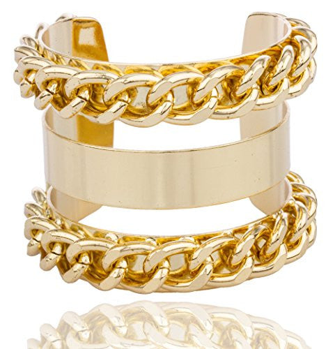 Goldtone Alternating Layered Chain Design Cuff Bangle Bracelet