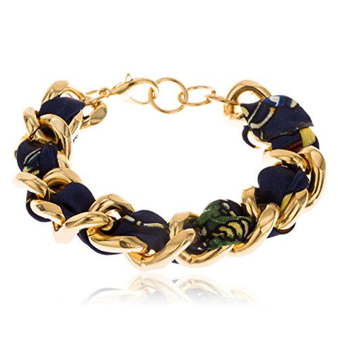 Goldtone with Navy 7 Inch Adjustable Braided Fabric with Cuban Link Bracelet