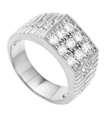 Men's Silvertone CZ Ribbed Square Ring Sizes 10-11