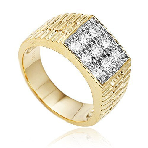 Men's Goldtone Cz Ribbed Square Ring...