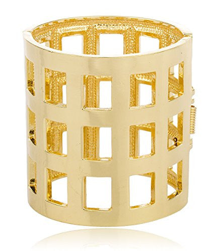 Goldtone Metallic Symmetrical Bar Design Cuff Bangle Bracelet