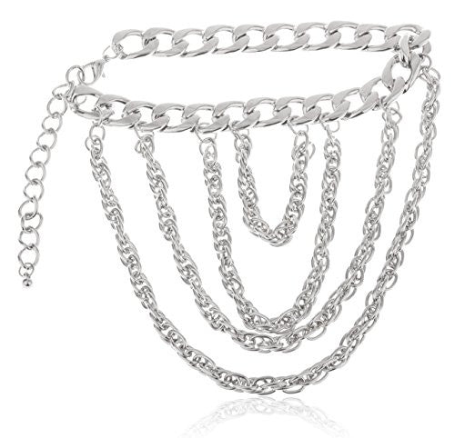 Silver Wrap Around Rolo Chain Style Multiple Link Adjustable Heel Chain