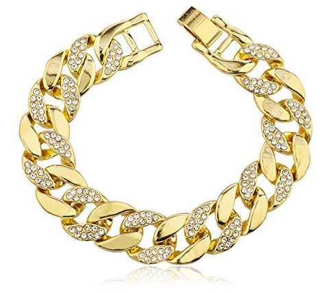 Iced Out Cuban Link Bracelet with Snap Clasp