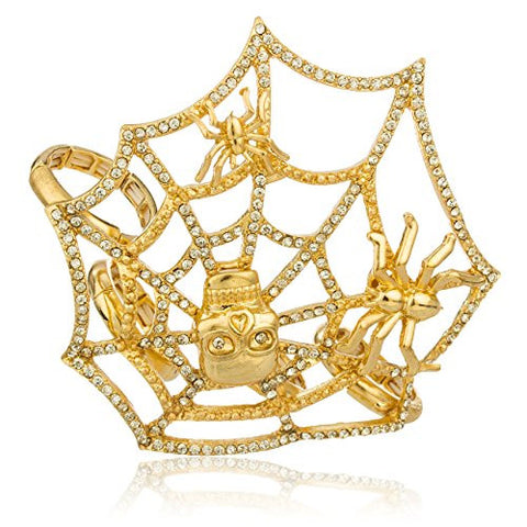 Goldtone Spider Web Designer Four Finger Stretch Knuckle Ring with Stones