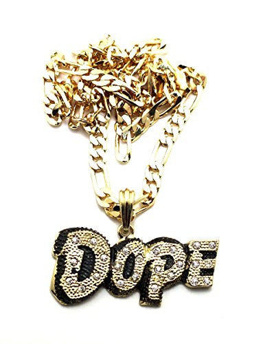 "Small Goldtone Iced Out ""Dope"" Pendant with a 24 Inch Figaro Chain"