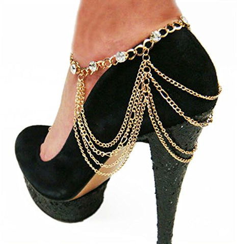 Goldtone Adjustable Heel Chain with Stones and Hanging Links