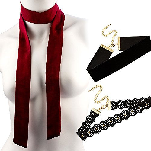 Ultimate Collection Set of Three Choker Set (Burgandy Wrap Around Tie,Flower Design ,Thick Velvet)