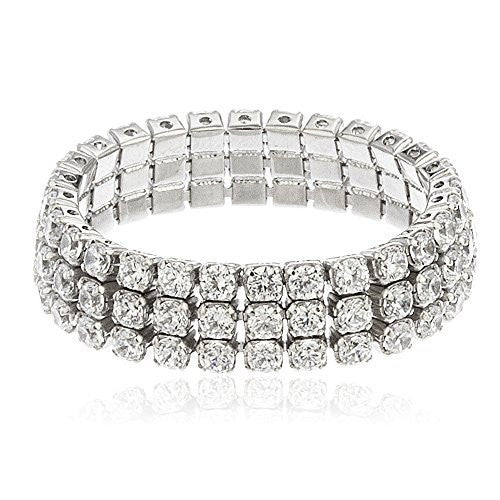 925 Sterling Silver Three Row Cubic Zirconia Eternity Band Ring Sizes From 6-8